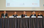 From left: Stefan Mittnik (LMU Munich), Paul Robinson (Bank of England), Hans-Helmut Kotz (SAFE), Aurel Schubert (ECB) and Loriana Pelizzon (SAFE)
